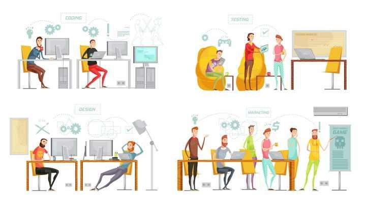 四款卡通漫画风格商务人士设计师图片免抠素材