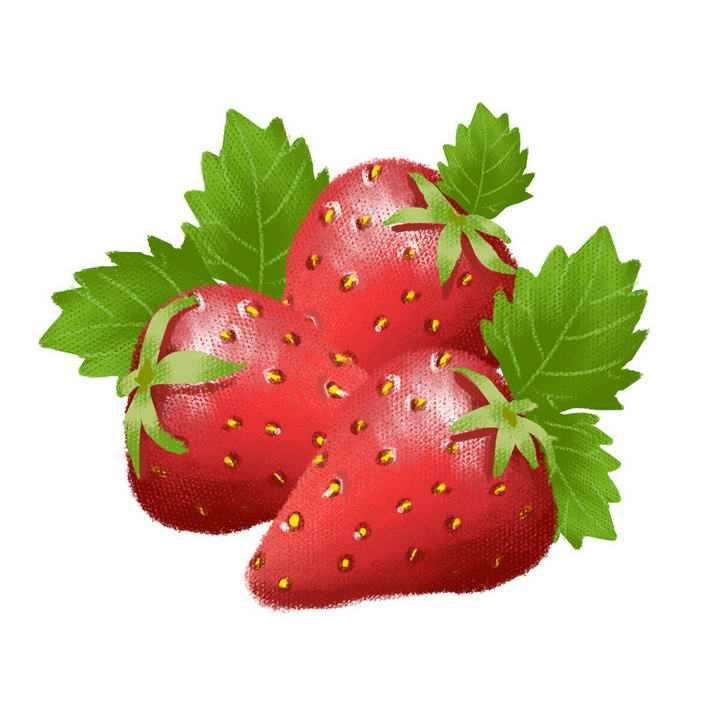 手绘油画风格草莓水果图片免抠素材