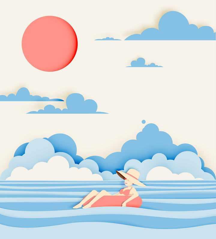 剪纸叠加风格漂流在海面上草帽女孩插画素材