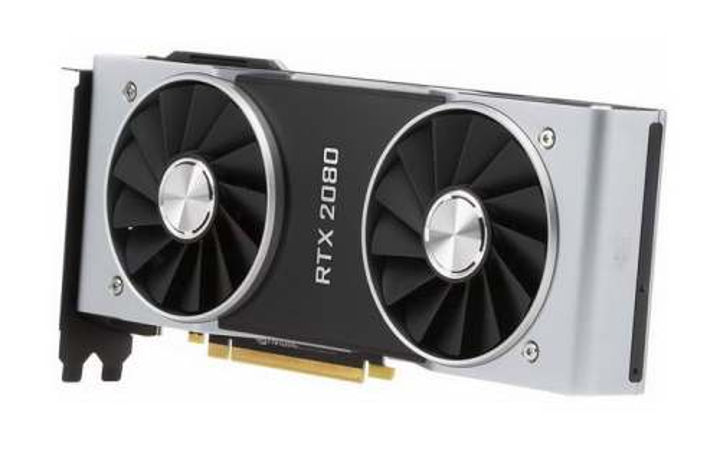 高清英伟达Nvidia RTX 2080显卡电脑配件斜视图图片透明背景免抠素材