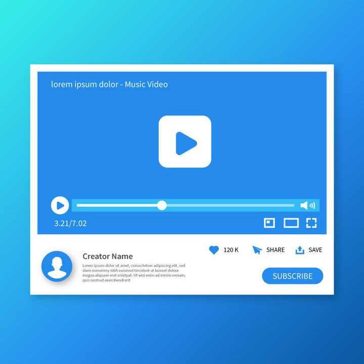 蓝色扁平化风格视频网站视频播放界面UI设计效果图片素材