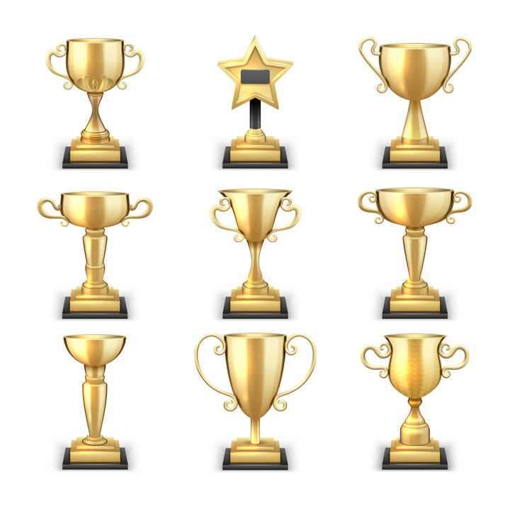 九款不同风格形状的金杯奖杯免抠素材