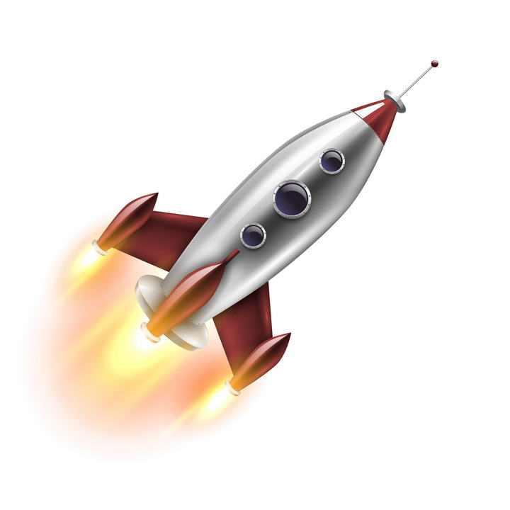 写实卡通风格喷火的小火箭图片免抠素材