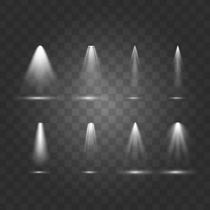 八款舞台灯光照射效果图透明背景素材