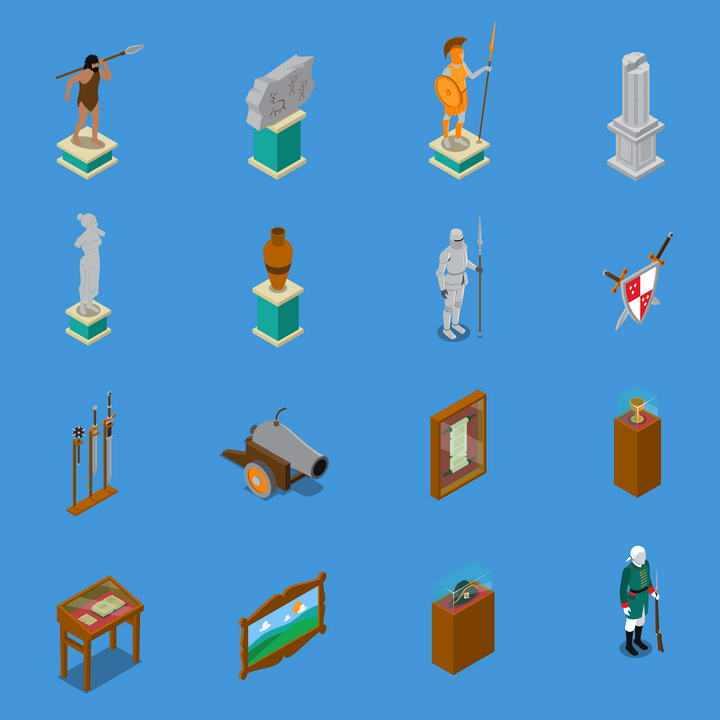 16款2.5D风格博物馆展厅展品图片免抠素材