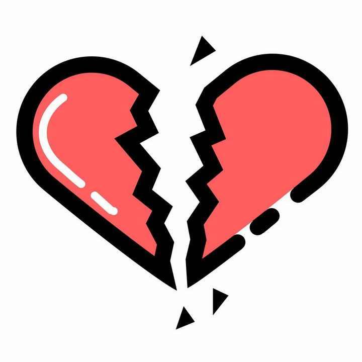 黑色描边风格的破裂的红心心形图案图片png免抠素材