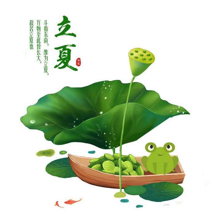 采莲的小青蛙24节气之立夏荷叶图片免抠素材