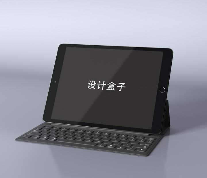 黑色苹果ipad平板电脑带智能键盘屏幕显示样机设计素材