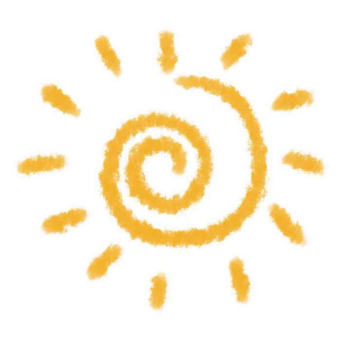 橙色涂鸦螺纹造型卡通太阳图片免抠素材