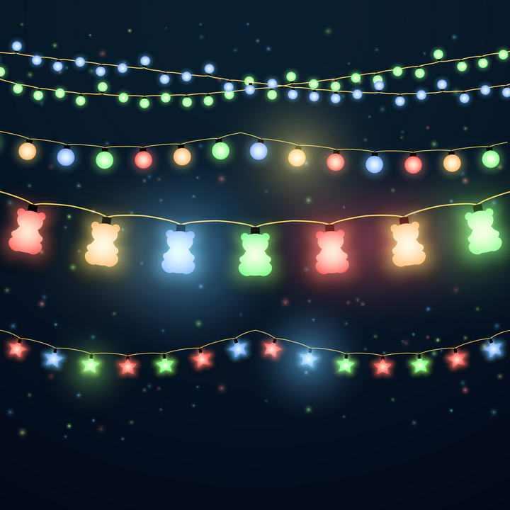 各种可爱的五颜六色发光小灯泡装饰灯带图片免抠素材