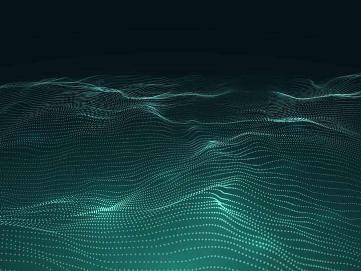 绿色粒子组成的线条波浪图片素材