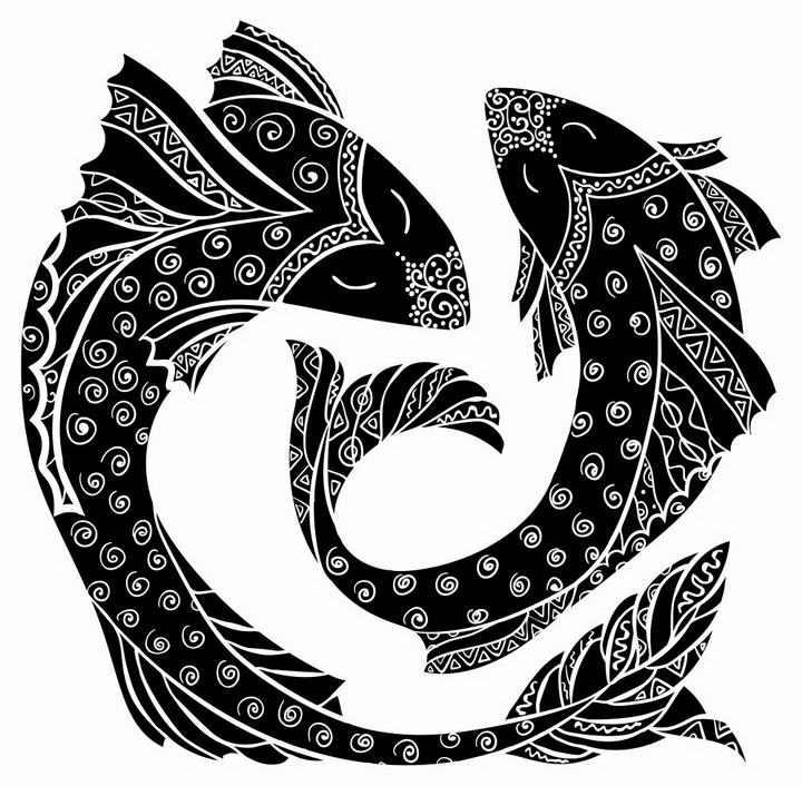 黑色双鱼座星座图片免抠素材