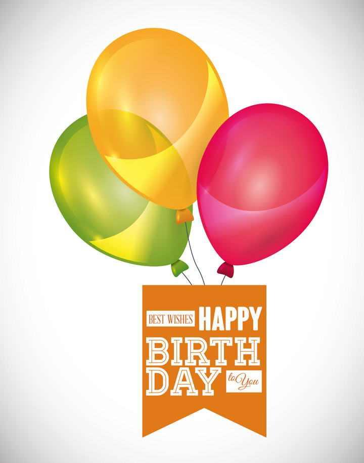 糖果色彩色气球下面吊着的条幅图片免抠素材