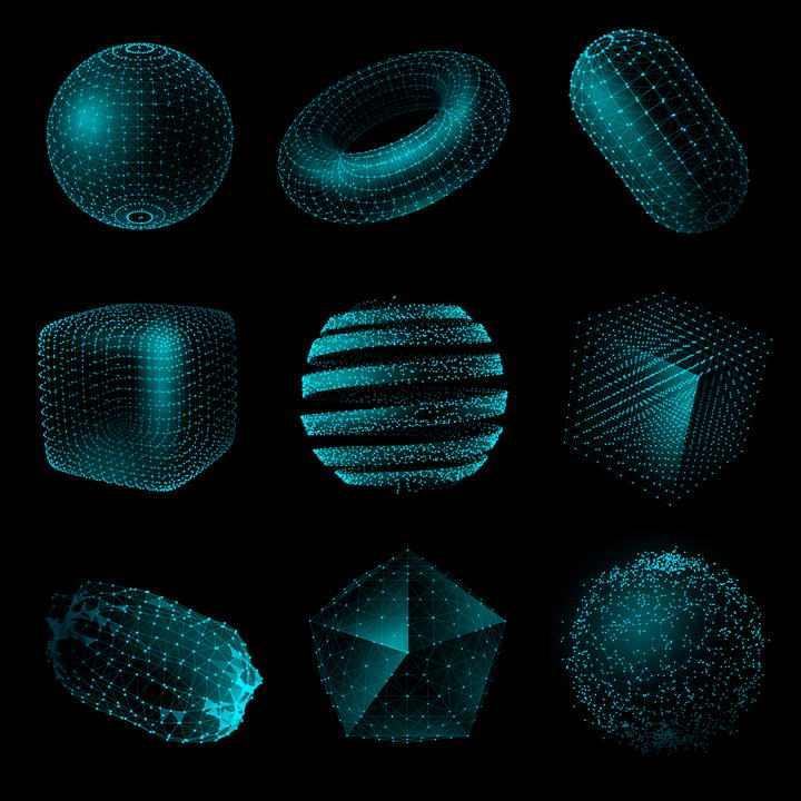 九款创意抽象风格粒子点线组成的各种形状图片免抠素材