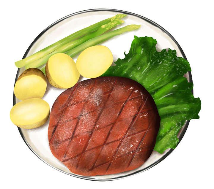 手绘风格牛排土豆和生菜西餐美食图片免抠素材