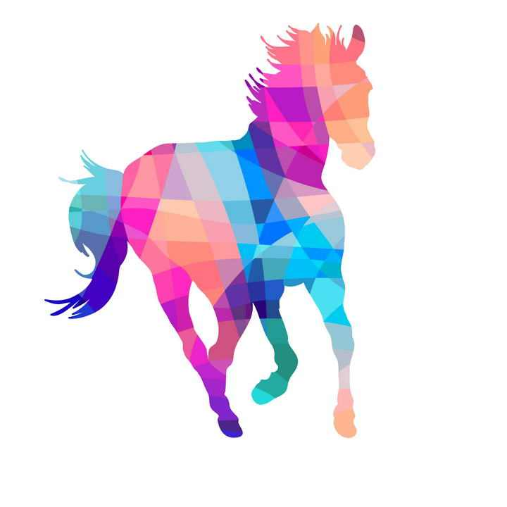 彩色多边形组成的骏马图片png免抠素材