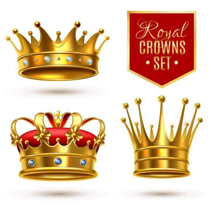三款金属色黄金皇冠图片免抠素材