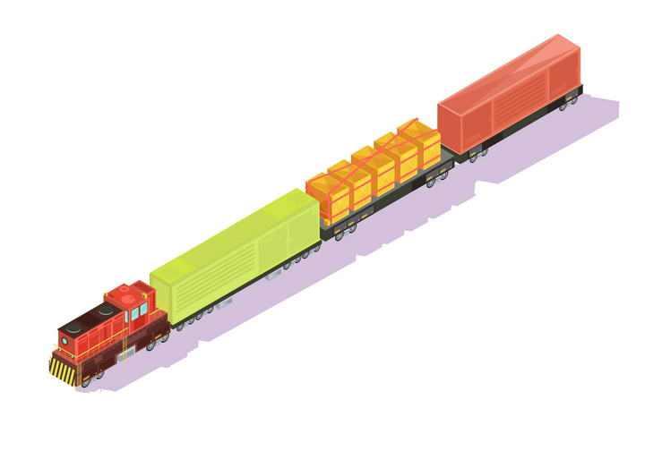 2.5D效果的货运火车图片免抠素材