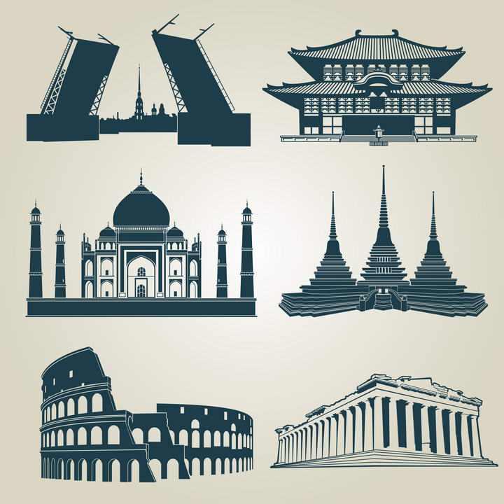 六款蓝色世界知名地标建筑景点剪影旅游设计素材