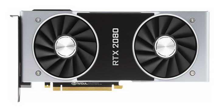 高清英伟达Nvidia RTX 2080显卡电脑配件正面图片透明背景免抠素材