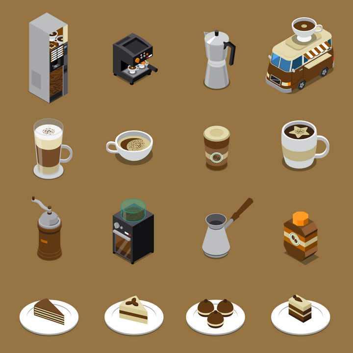 2.5D效果各种咖啡机蛋糕西餐美食图片免抠素材