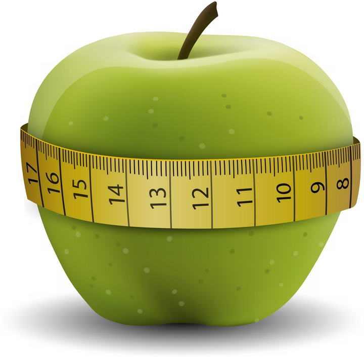 一个青苹果上的卷尺减肥图片png免抠素材