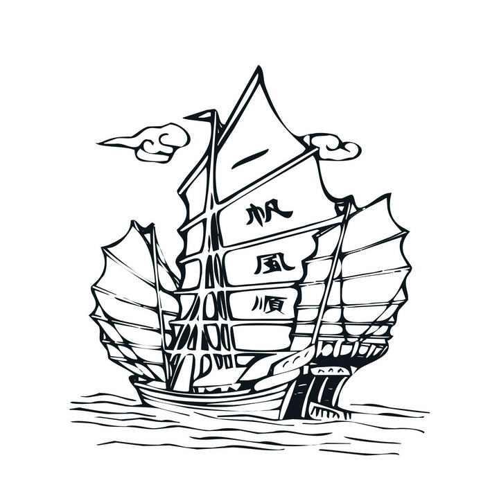 手绘线条一帆风顺帆船简笔画图片png免抠素材