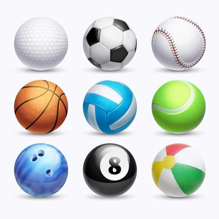 棒球足球篮球排球等九种不同的球类体育图片免抠素材