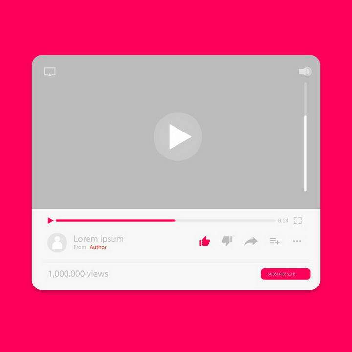 扁平化风格视频网站视频播放器UI界面设计素材