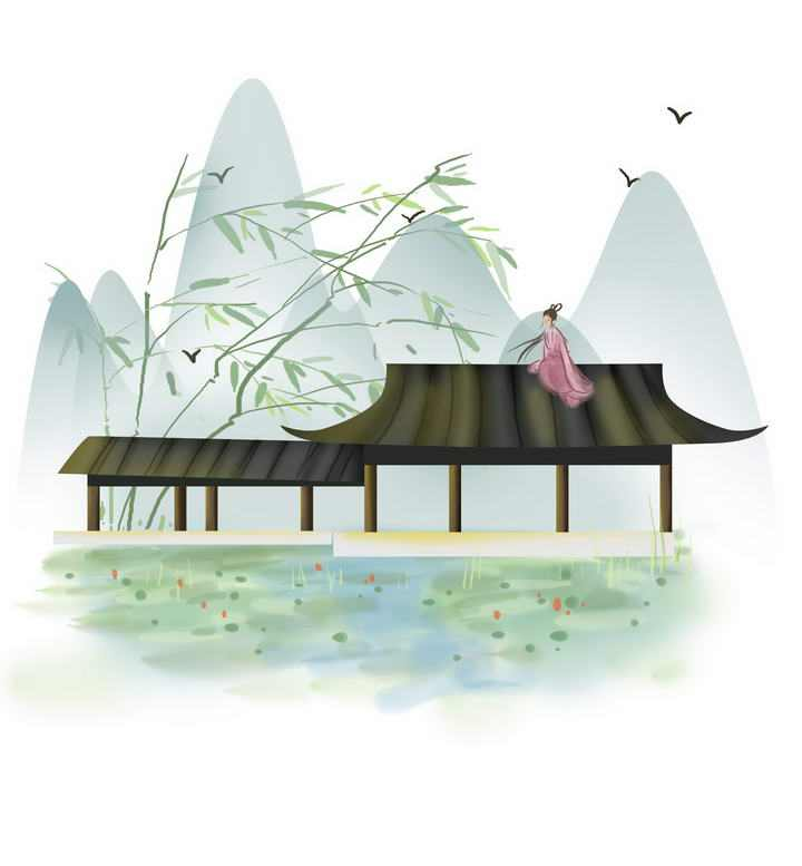 中国风彩色水墨画风格春天荷塘坐在屋顶的少女远山风景图片免抠素材