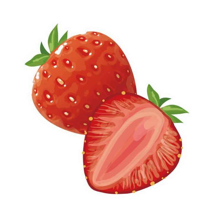 切开一半的手绘草莓水果图片免抠素材