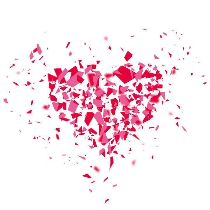 破碎碎片组成的心形红心图案图片png免抠素材
