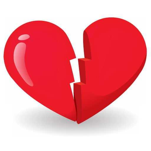 一颗破裂的红心图案失恋图片png免抠素材