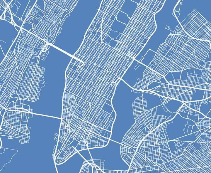 蓝底白线风格的线性纽约地图鸟瞰图图片素材