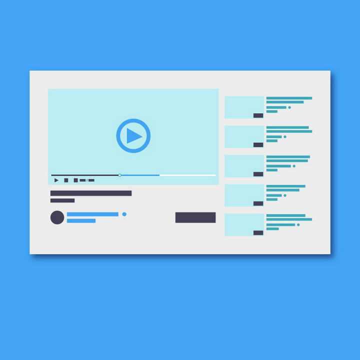 扁平化风格视频网站播放器UI效果展示图片免抠素材
