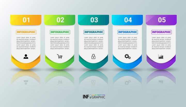糖果色PPT步骤图PPT分类信息图表素材