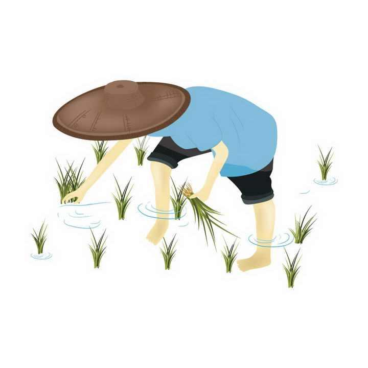 手绘风格插秧的农民图片免抠素材