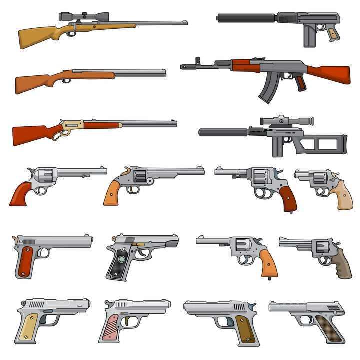 各种手绘风格自动步枪手枪等轻武器图片免抠素材