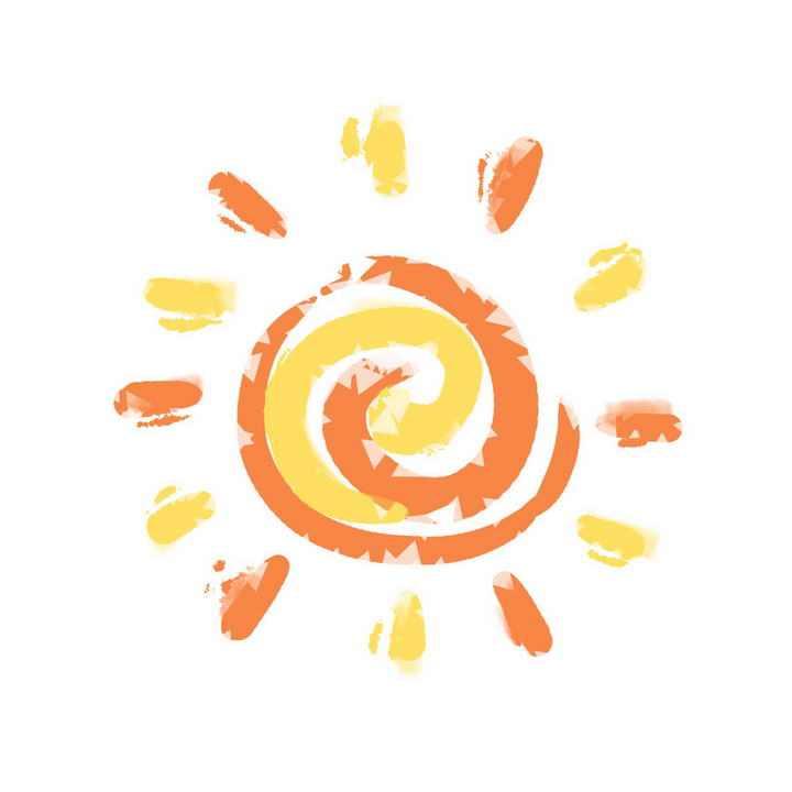 橙黄色卡通涂鸦螺纹造型太阳图片免抠素材