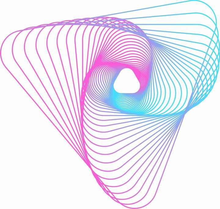 蓝色粉色渐变色曲线线条图案图片免抠素材