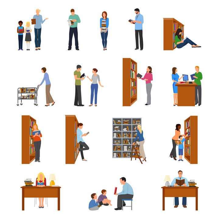 16款图书馆学习的学生老师图片免抠素材