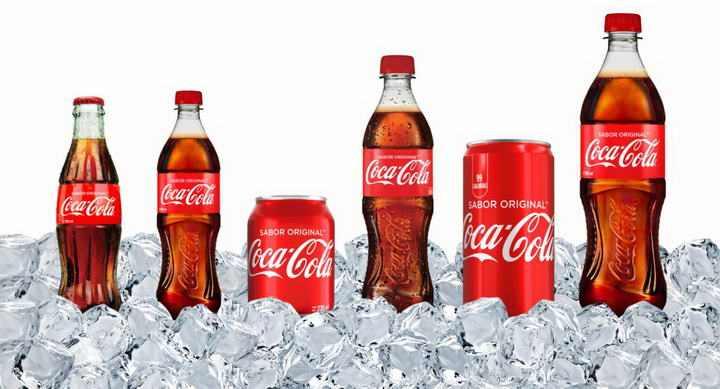 埋在冰块中的各种可口可乐包装图片免抠素材