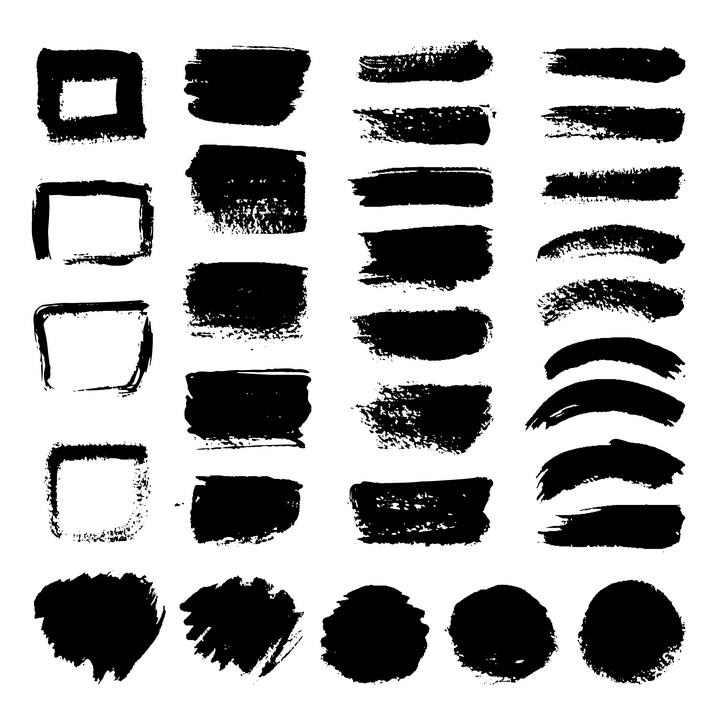 各种不同风格的毛笔涂鸦色块文本框图片免抠素材合集