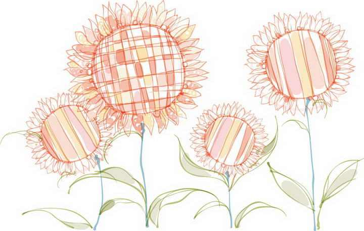 几株彩色涂鸦风格的向日葵图片免抠素材