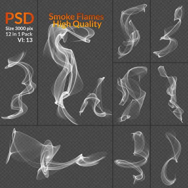 12款青烟缕缕白色烟雾烟气效果图片免抠素材