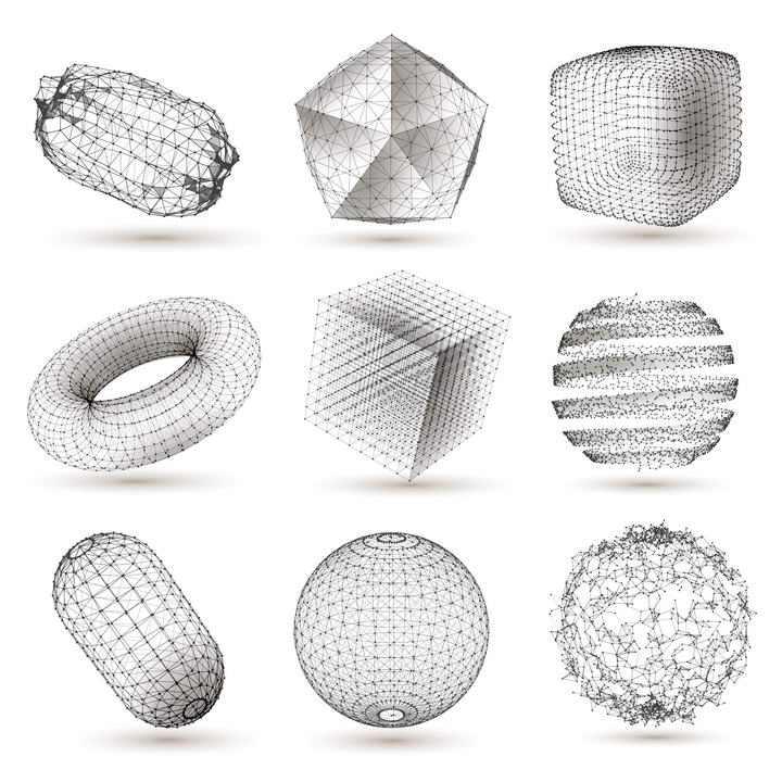 九款黑色粒子风格点线组成的各种形状图片免抠素材