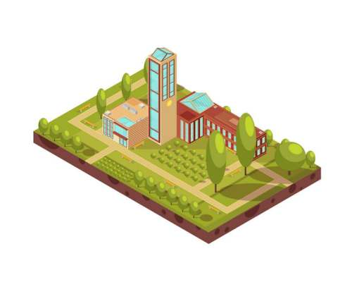 2.5D效果大学玻璃教学楼绿色花园图片免抠素材