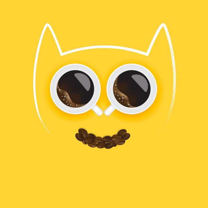 创意两杯咖啡和咖啡豆组成的猫脸图案图片免抠素材