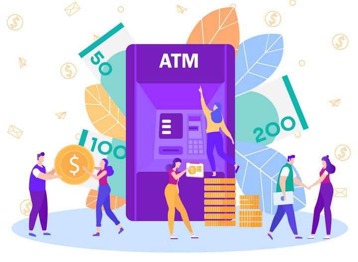扁平插画风格ATM金融交易理财配图图片免抠素材