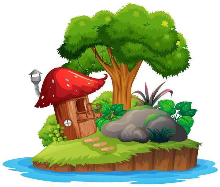 卡通漫画风格长满青草的海岛上面的大树和蘑菇屋图片免扣素材